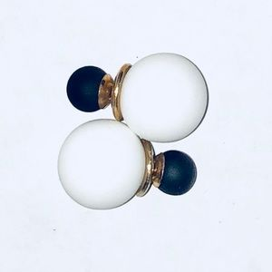 Stylish Pearl Ball double sided earrings